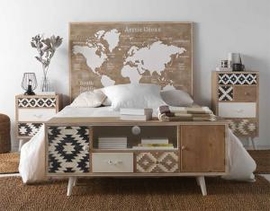 Dormitorio completo, puffs, mesitas, cabezal cama