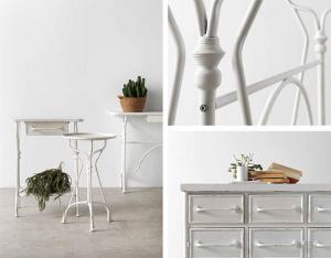 Mesa, taburete y cajonera elaborado en chapa y hierro