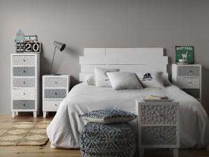 Conjunto cama y mesitas, catálogo deco Gabar